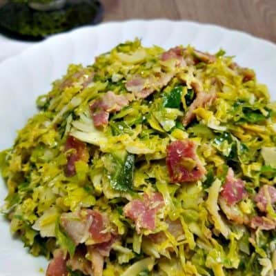 Shredded Brussel Sprouts with Bacon and Balsamic
