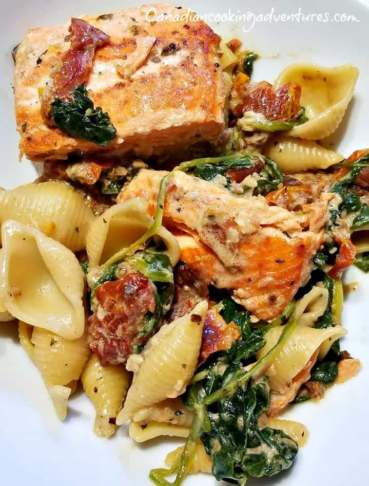 Spicy Tuscan Salmon over pasta