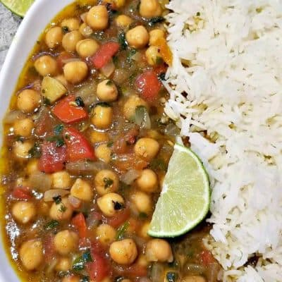 Chickpea Curry with basmati rice
