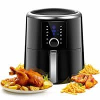 OMORC Air Fryer XL 6QT(w/Cookbook), 1800W Fast Cook 6QT Air fryer Oven Large Digital Oilless Cooker w/Quick Knob & Touch Screen, 8-15 Presets, Preheat& Time display, Nonstick Basket, 2-Year Warranty