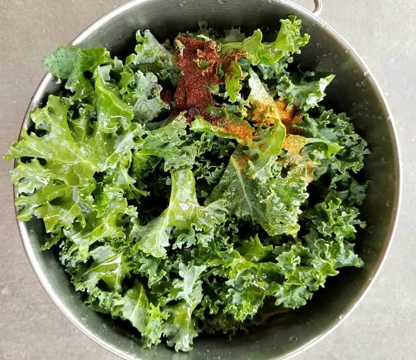 Air Fryer Spicy Kale Chips